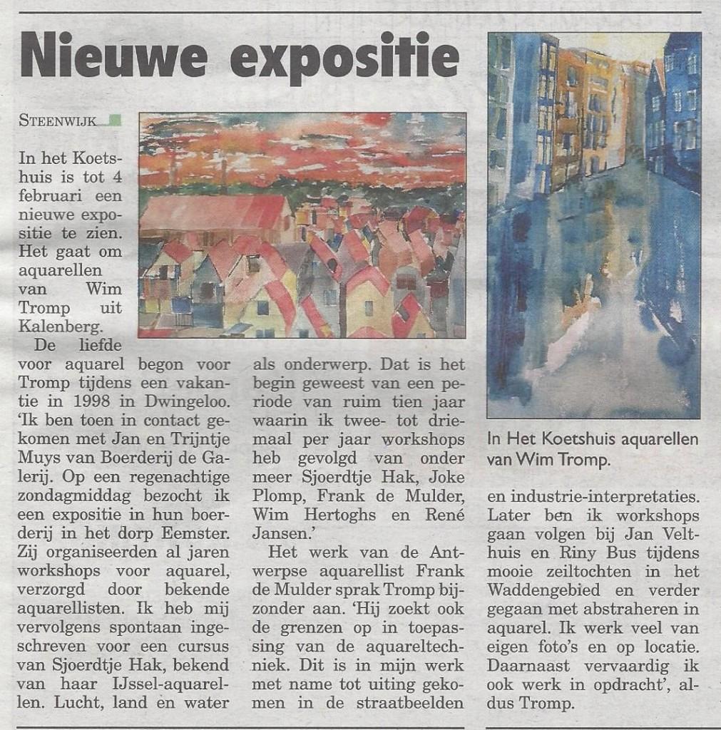 20171219 Artikel Steenwijker Courant Expositie